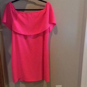 NWT Charles Henry neon pink of the shoulder dress